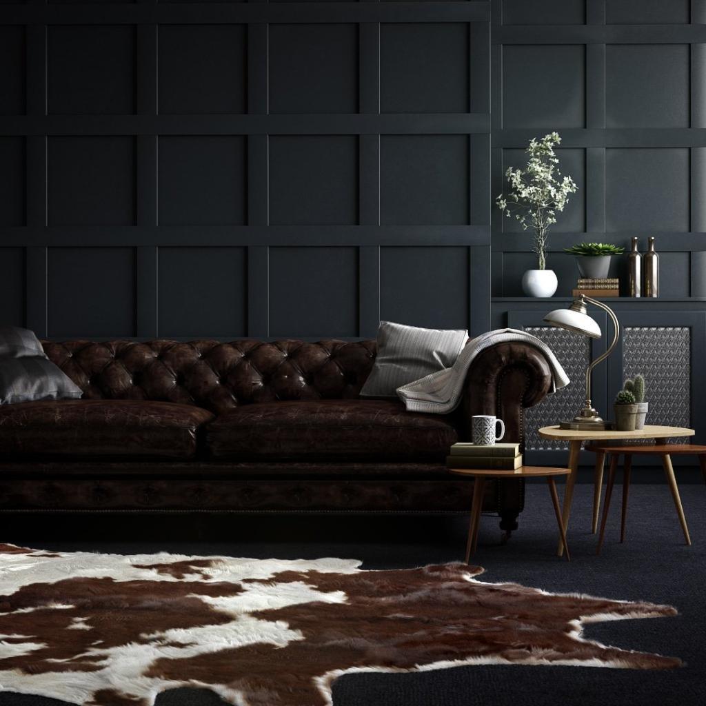 Dark Colors Living Room Render | Nordvisual Studio