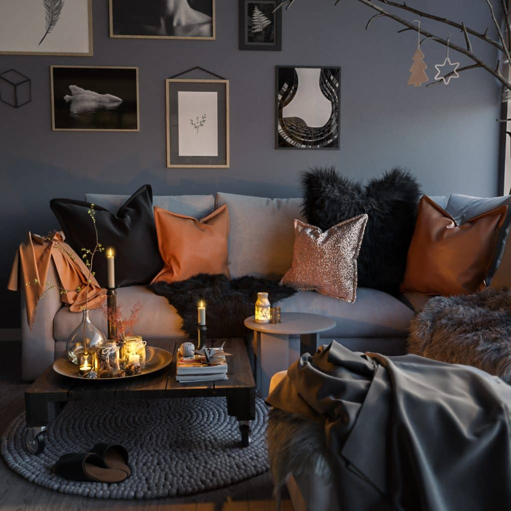 Stylish Living Room Corner Render | Nordvisual