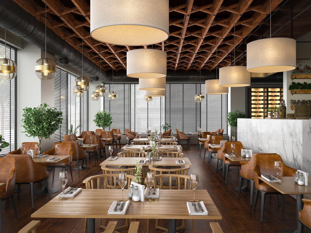 Warm Colors Restaurant Render | Nordvisual