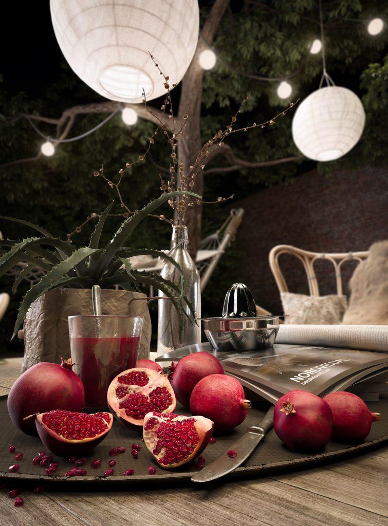 Close Up Pomegranates Render | Nordvisual