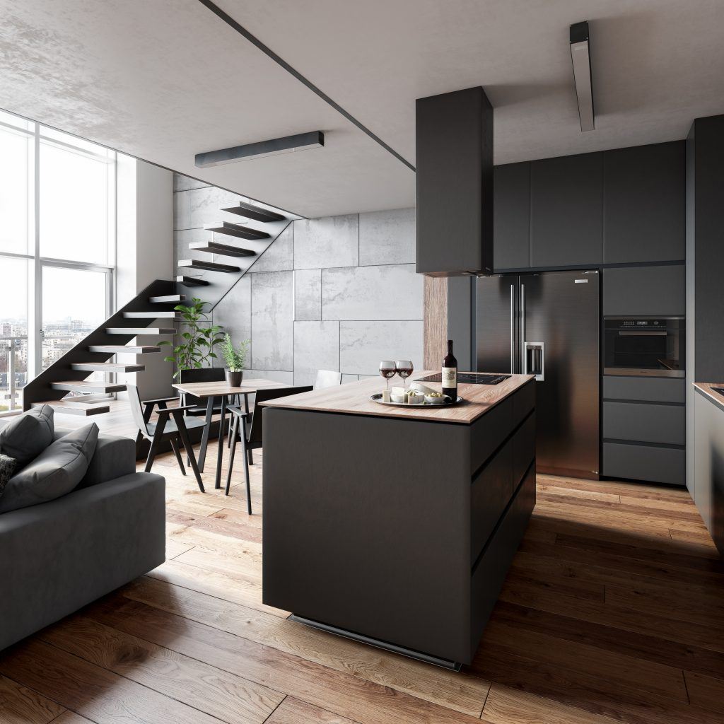Living Room and Kitchen Render | Nordvisual